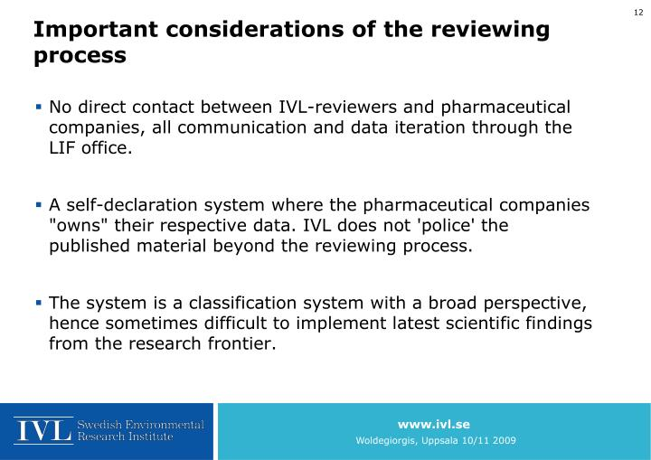 Important considerations of the reviewing process