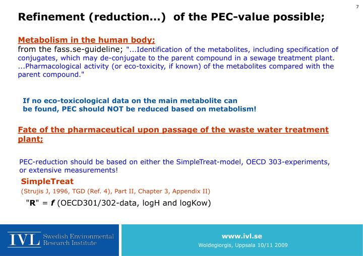 Refinement (reduction...)  of the PEC-value possible;