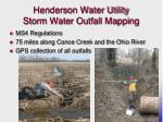 henderson water utility storm water outfall mapping