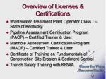overview of licenses certifications