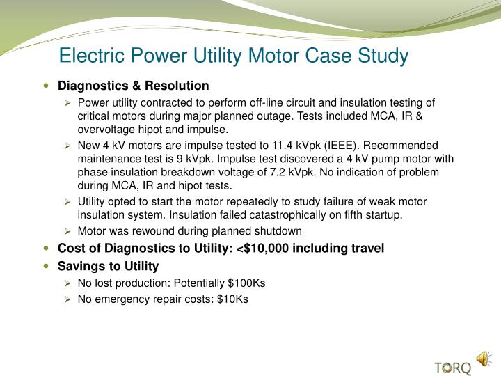 electric power utility motor case study n.