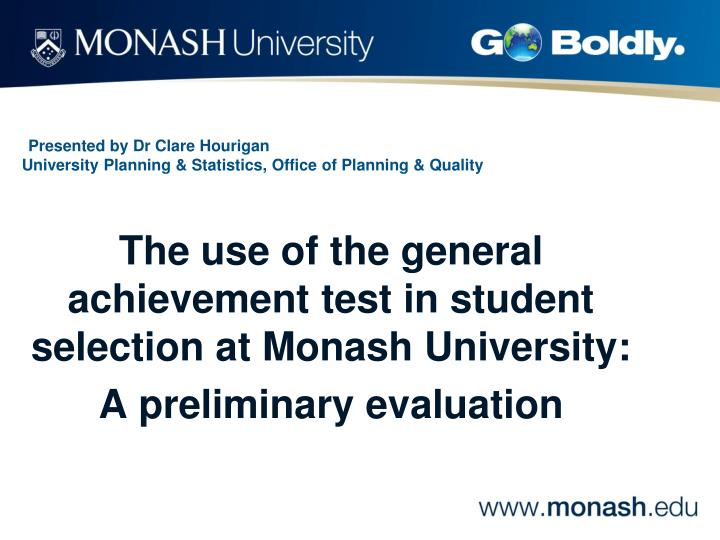 presented by dr clare hourigan university planning statistics office of planning quality n.