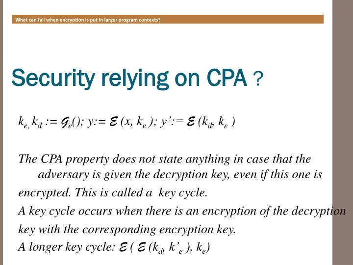 What can fail when encryption is put in larger program contexts?