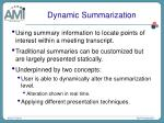 dynamic summarization