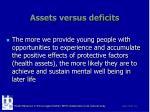 assets versus deficits