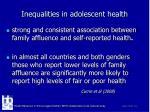 inequalities in adolescent health