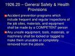 1926 20 general safety health provisions