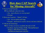 how does cap search for missing aircraft
