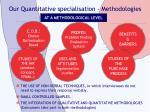 our quantitative specialisation methodologies