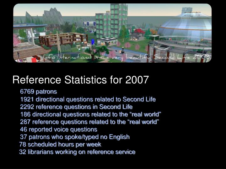 Reference Statistics for 2007