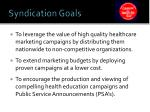 syndication goals