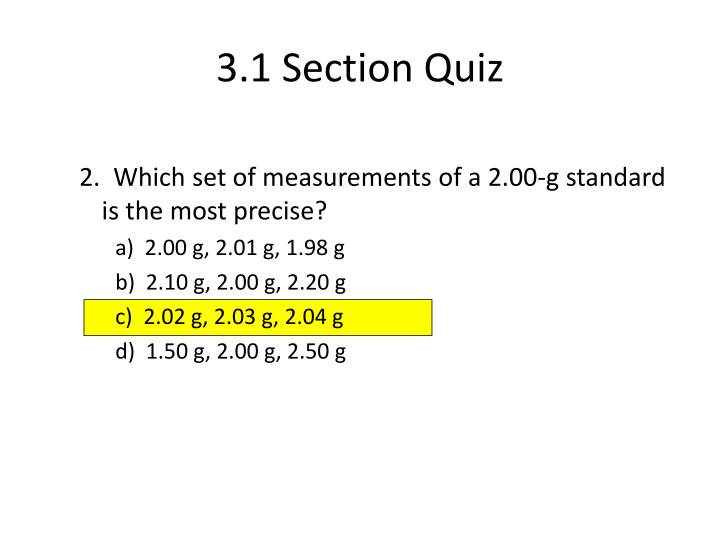 3.1 Section Quiz