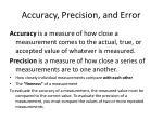 accuracy precision and error