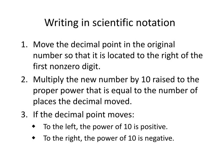 Writing in scientific notation