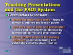 teaching presentations and the padi system1