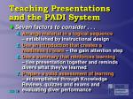 teaching presentations and the padi system2