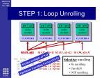 step 1 loop unrolling