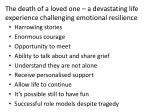 the death of a loved one a devastating life experience challenging emotional resilience