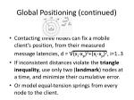 global positioning continued