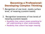 becoming a professional developing complex thinking