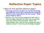 reflective paper topics