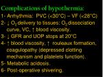 complications of hypothermia