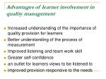 advantages of learner involvement in quality management