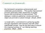 comments on framework