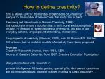 how to define creativity