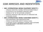 gsm arresses and indentifiers