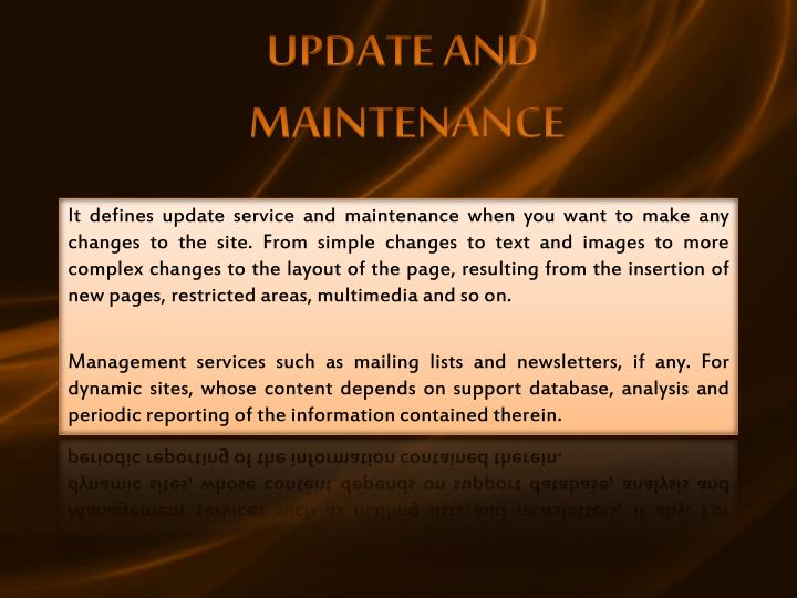 UPDATE AND