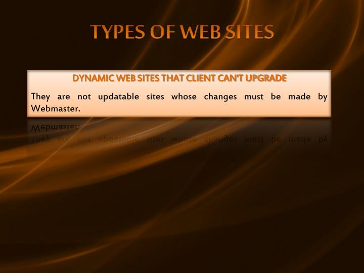 TYPES OF WEB SITES