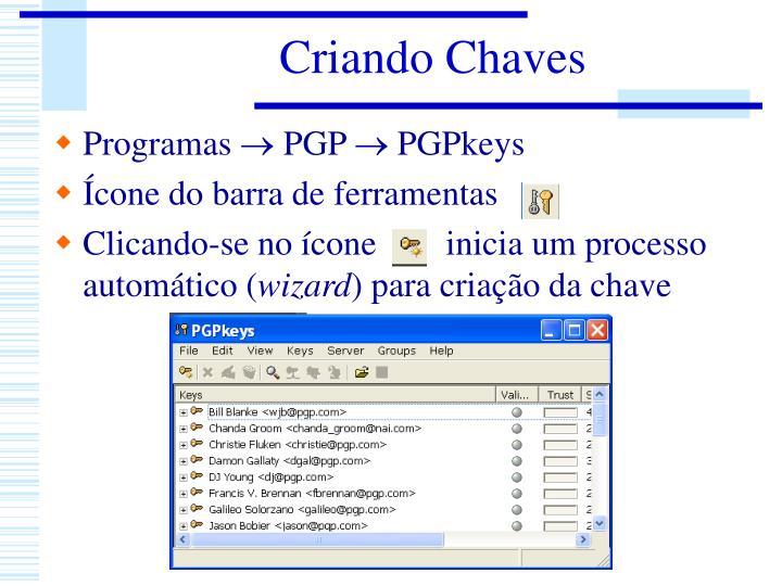 Criando Chaves