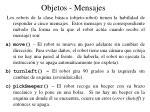 objetos mensajes
