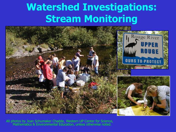 watershed investigations stream monitoring n.