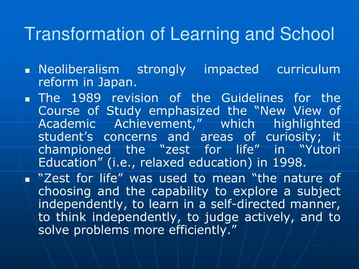 Transformation of Learning and