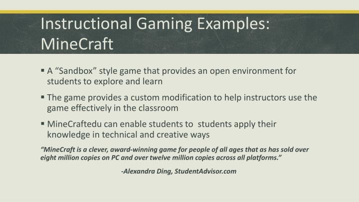 Instructional Gaming