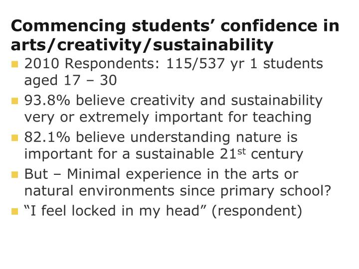 Commencing students' confidence in arts/creativity/sustainability