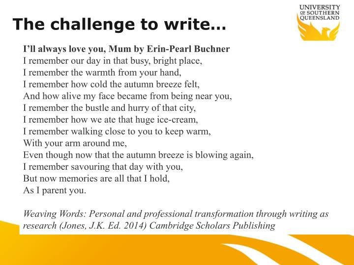 The challenge to write…