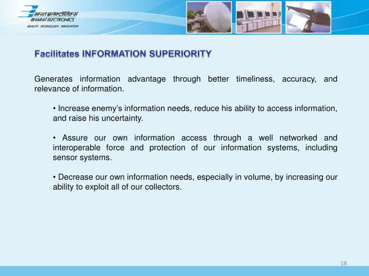 Facilitates INFORMATION SUPERIORITY