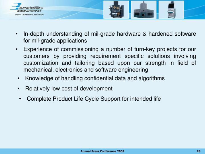In-depth understanding of mil-grade hardware & hardened software for mil-grade applications