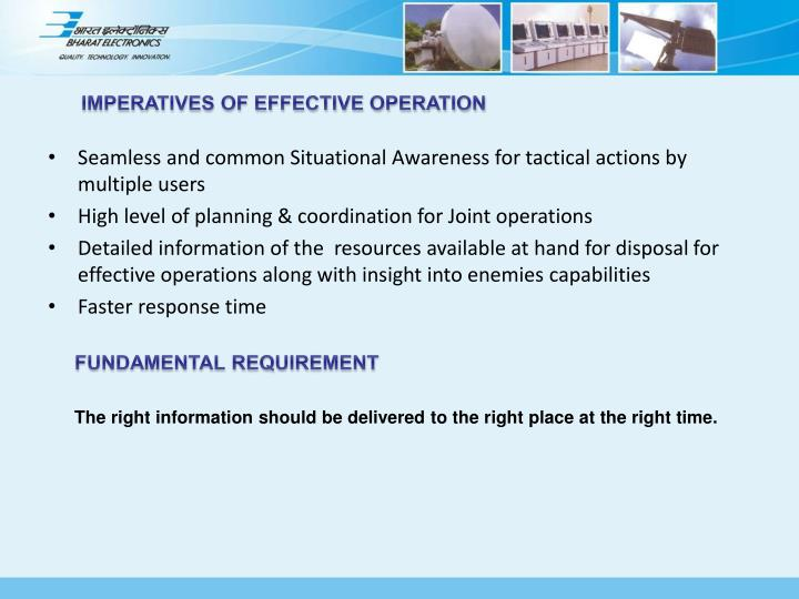 IMPERATIVES OF EFFECTIVE OPERATION