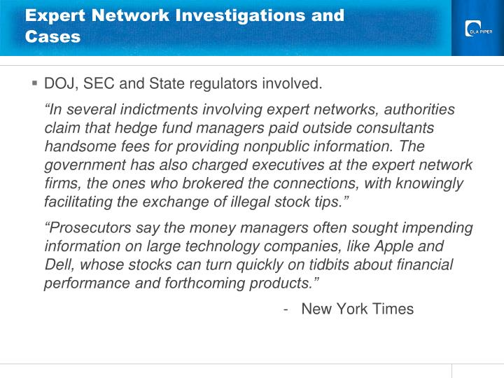 Expert Network Investigations and Cases