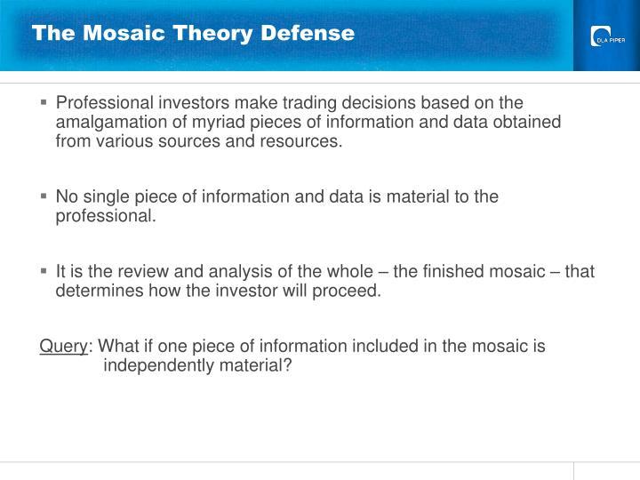 The Mosaic Theory Defense