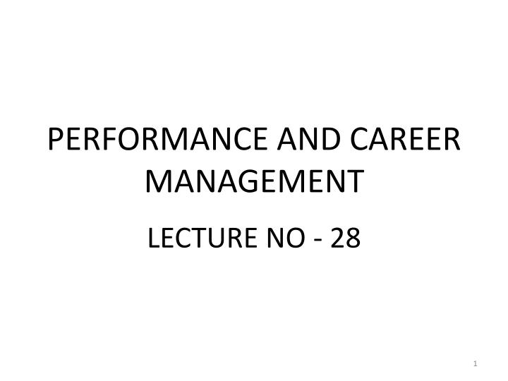 performance and career management n.