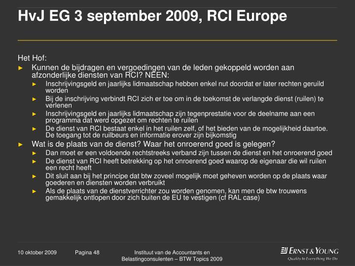 HvJ EG 3 september 2009, RCI Europe
