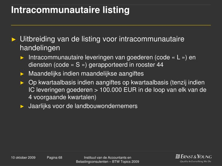Intracommunautaire listing