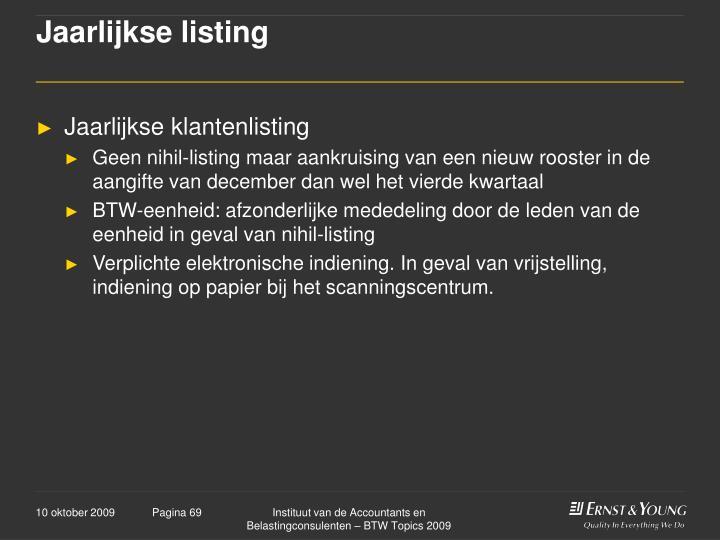 Jaarlijkse listing