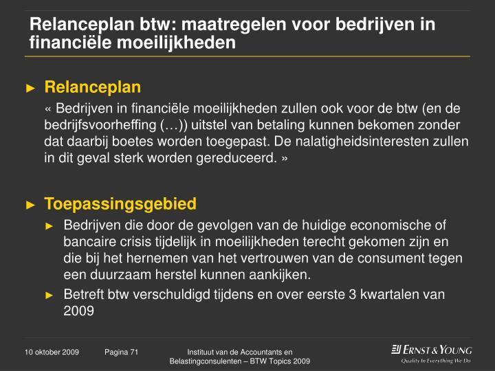 Relanceplan btw: maatregelen voor bedrijven in financiële moeilijkheden