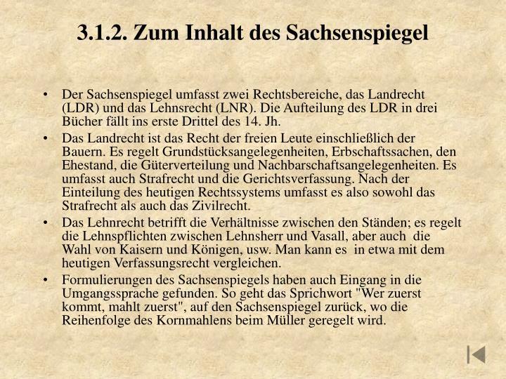 3.1.2. Zum Inhalt des Sachsenspiegel